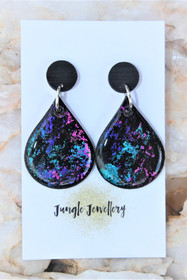 Unicorn Eclipse Teardrop Drop Earrings