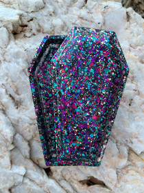 Handmade Resin Coffin Shaped Jewellery Trinket Box - confetti 1