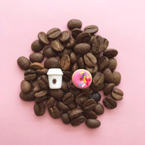 Pink Donut and Coffee Cup Clay Kawaii Stud Food Earrings
