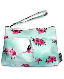 Liquorbrand Flamingos Wristlet Pouch Wallet Bag