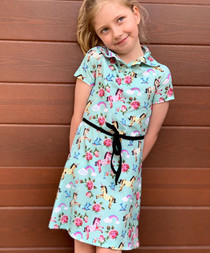 Six Bunnies Unicorn Wonderland Shirt Dress for Kids
