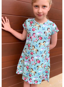 Six Bunnies Unicorn Wonderland Short Sleeve Dress
