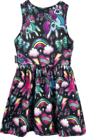 Six Bunnies Black Unicorn Dress - Babydoll