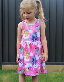 Six Bunnies Girl Unicorn Pegasus Babydoll Dress - model