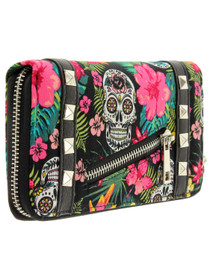 Banned Apparel Hibiscus Skull Wallet - side
