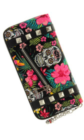 Banned Apparel Hibiscus Skull Wallet