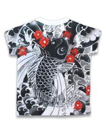 Six Bunnies Lucky Koi Kids Asian Tee Shirt Top - back