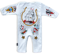 Six Bunnies Tattooed Sailor Baby Romper