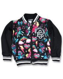 Six Bunnies Black Unicorn and Rainbow Bomber Varsity Jacket