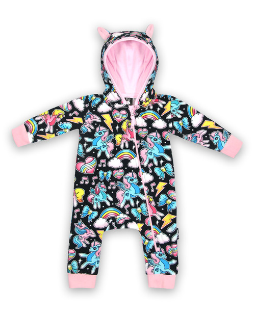 Six Bunnies Unicorns Baby Hooded Romper