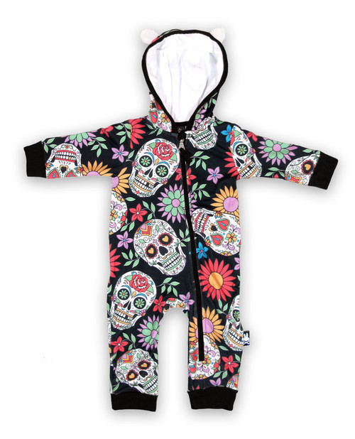 Six Bunnies Sugar Skull Baby Hooded Romper