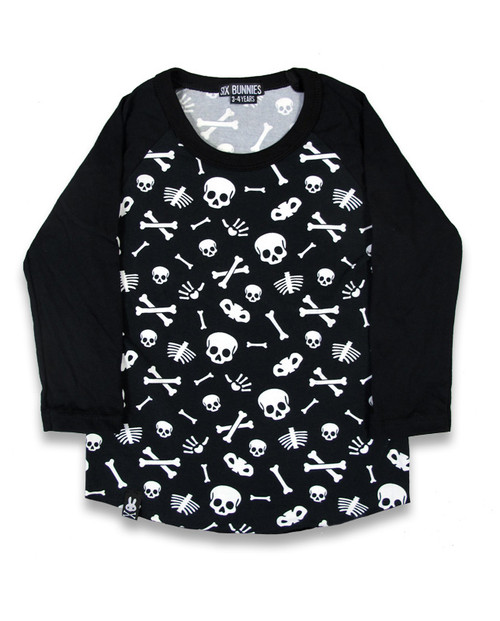 Six Bunnies Skulls Raglan Top