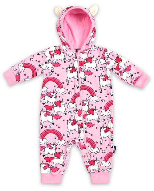 Six Bunnies Pink Rainbow Unicorns Baby Hooded Romper