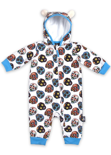 Six Bunnies Mexican Sugar Skulls Baby Hooded Romper