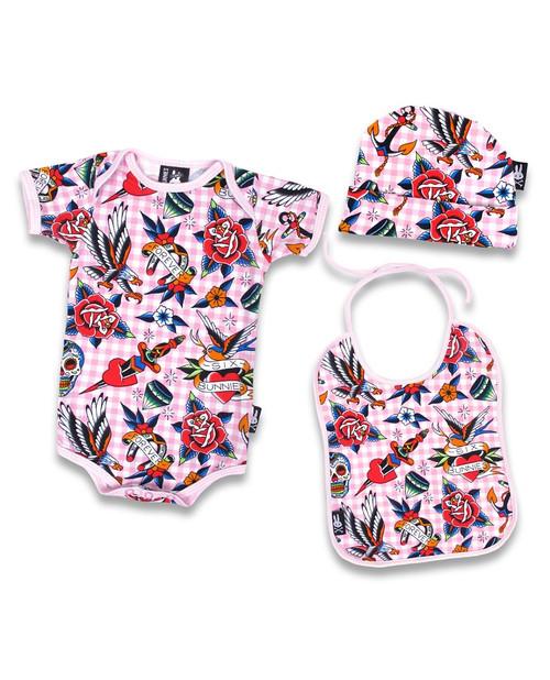Six Bunnies tattoo shoppe pink onesie, Bib and Beanie - box - close