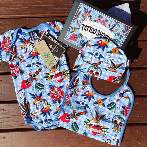 Six Bunnies Tattoo Shoppe BLUE 3 pcs Gift Set - Onesie, Beanie and Bib
