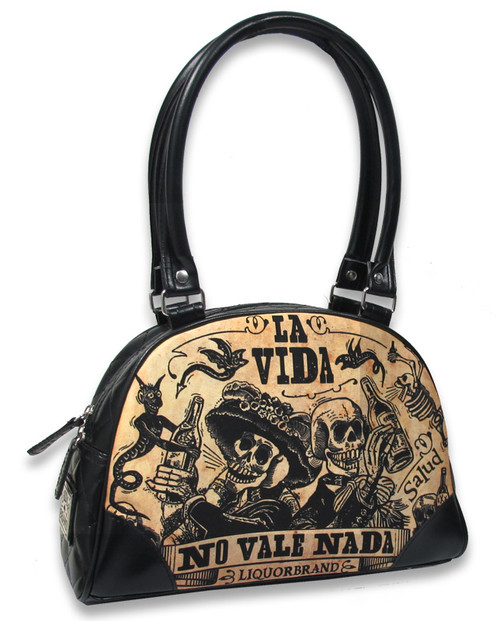 Liquorbrand Day of the Dead La Vida Skeleton Bowler Bag Handbag