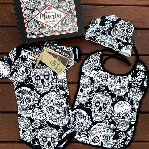 Six Bunnies Dia De Los Muertos 3 pcs Gift Set - Onesie, Beanie and Bib