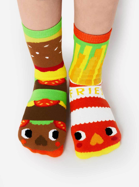 Burger and Fries Mismatched Socks - Pals Socks by Michelle Romo