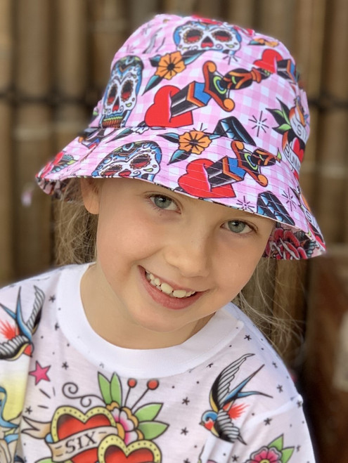 Six Bunnies Sugar Skulls Girls Bucket Hat