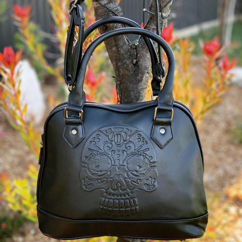 Banned Apparel Rho Embossed Skull Bag
