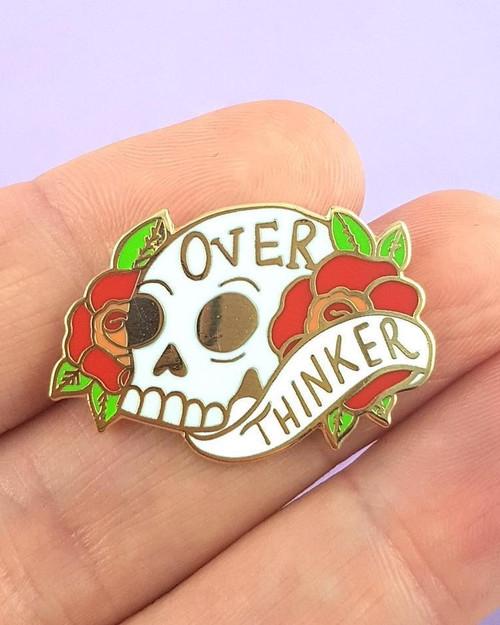 Jubly Umph Over Thinker Skull Enamel Pin