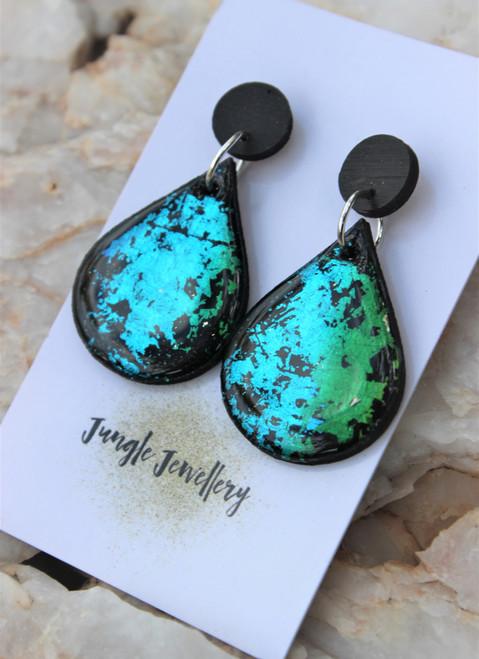 Peacock Teardrop Resin Drop Earrings