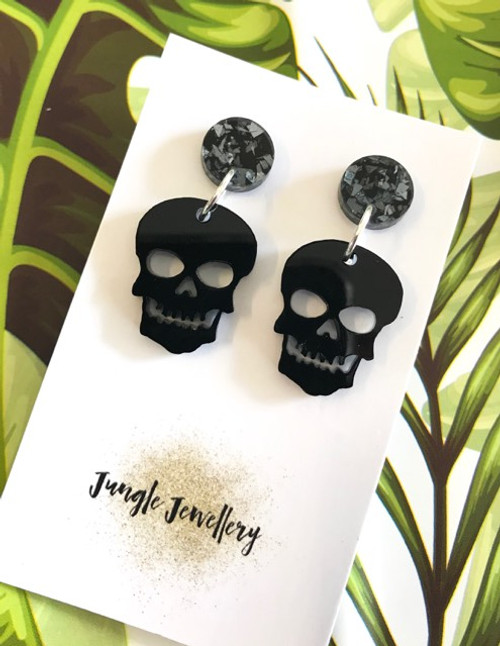 Acrylic Skull Resin Drop Earrings