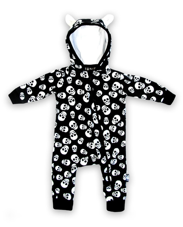 Six Bunnies Polka Skulls Baby Hooded Romper