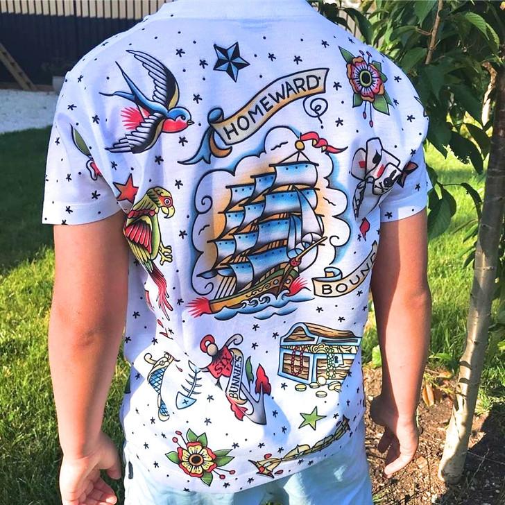 Six Bunnies Homeward Bound Kids Tattoo Tee Shirt - model