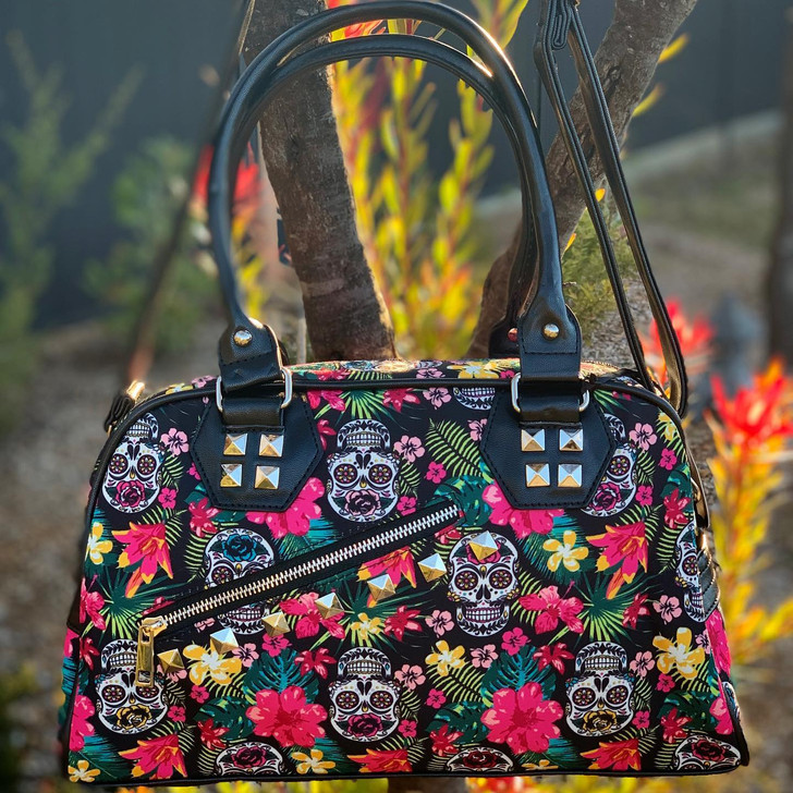 Banned Apparel Skull Hibiscus Handbag