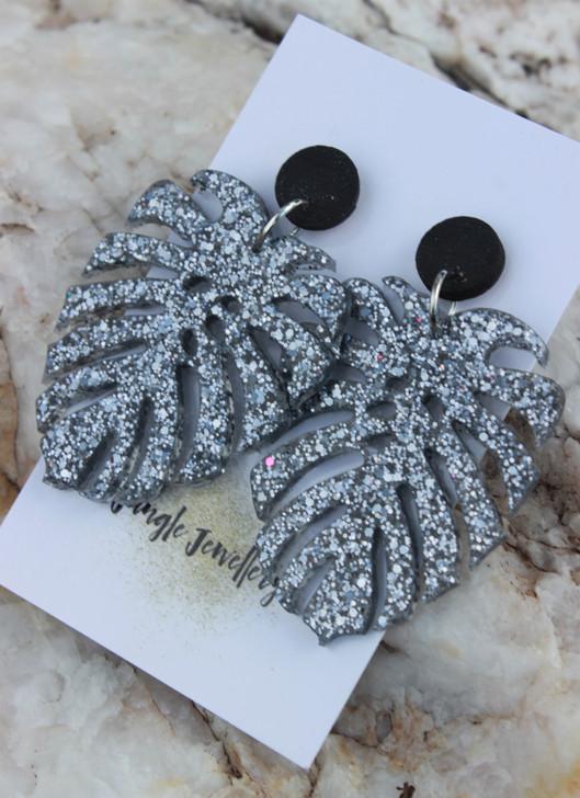 Monstera Leaf Resin Glitter Drop Earrings