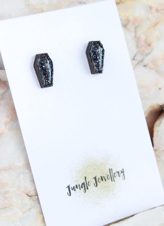 Coffin Shapred Resin Glitter Stud Earrings