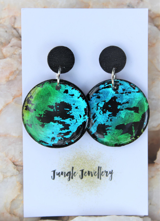 Peacock Round Drop Earrings
