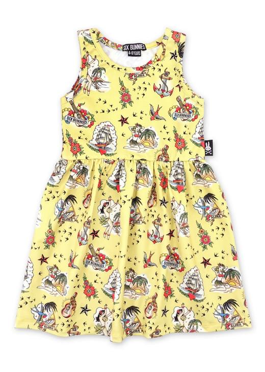 Six Bunnies Aloha Tattoo Kids Dresses