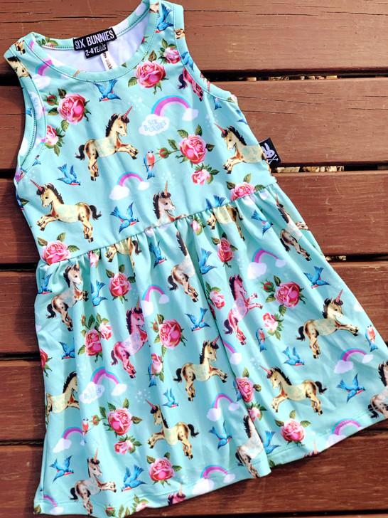 Six Bunnies Unicorn Wonderland Kids Dresses