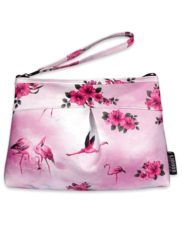 Liquorbrand Pink Flamingos Wristlet Pouch Wallet Bag