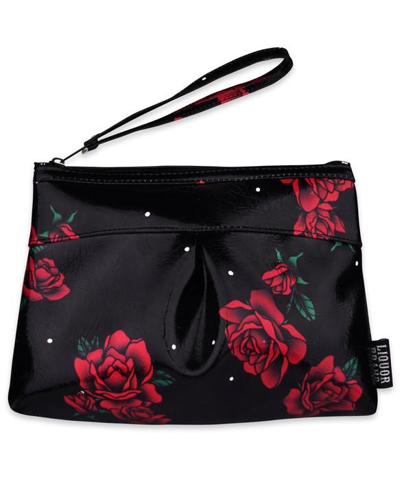 Liquorbrand roses wristlet pouch bag