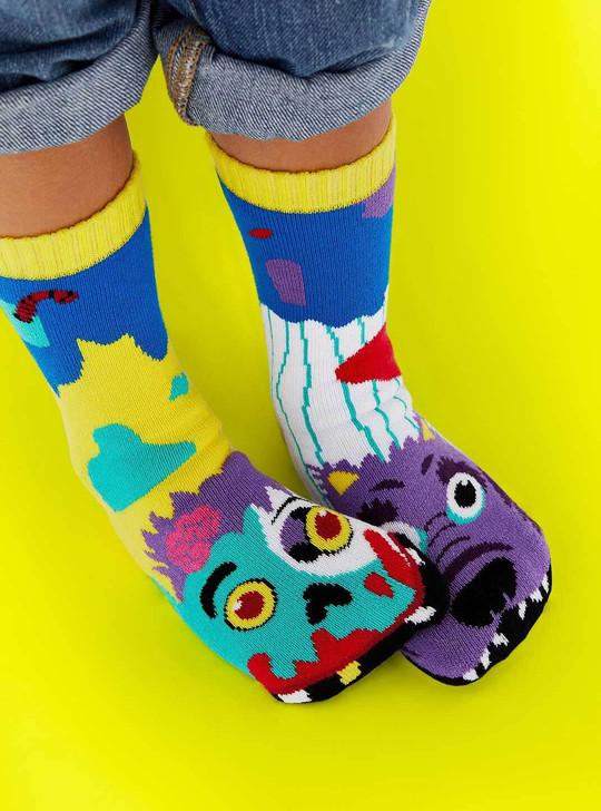 Pals Socks Zombie and Werewolf Kids Socks - model