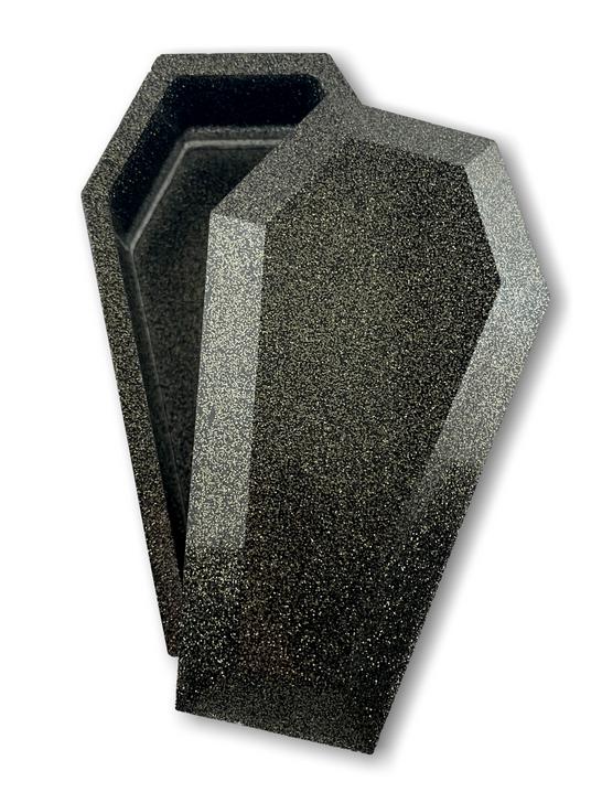 Australian made black resin coffin shape trinket box