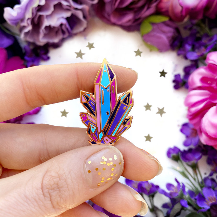 Aura Crystal Quirky Cup Collective Enamel Lapel Pin