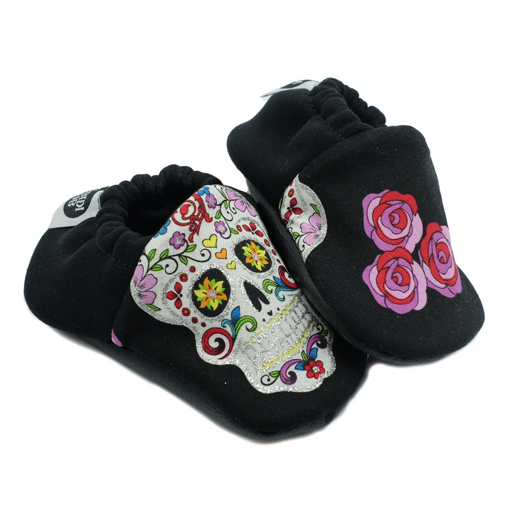Soft Sole Baby Shoes - Rockabilly Skulls