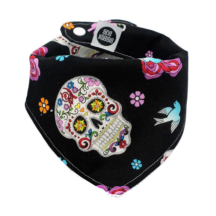Baby Bandana Bib - Rockabilly Skulls