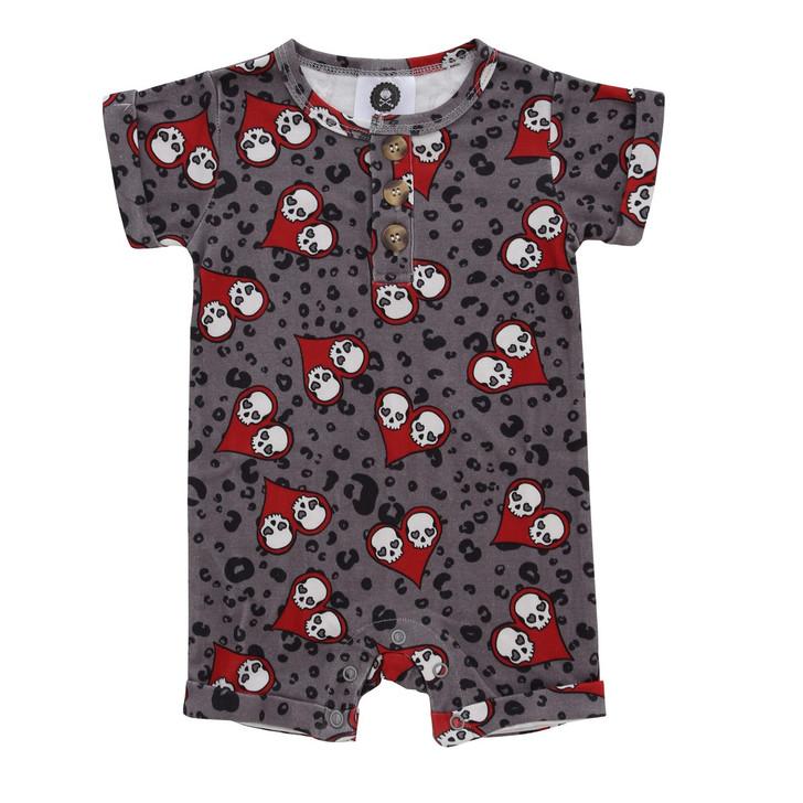 Love Skulls Baby Romper - Red