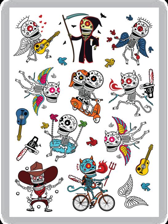 DOTD Skeletons Temporary Tattoo Set