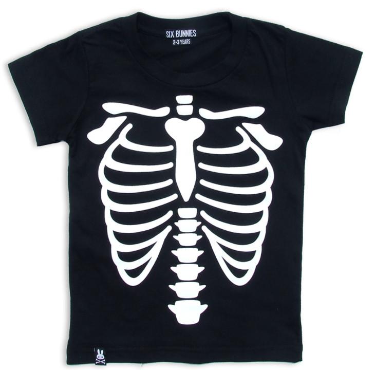 Kids Skeleton Rib Black Tee Shirt