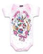 Six Bunnies Pink True Love Tattoo Baby Onesie Romper