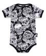 Six Bunnies monochrome Sugar Skulls Baby Romper Onesie