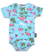Six Bunnies Flamingo Baby Onesie in Blue