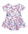 Six Bunnies Unicorn Dreams Dress Onesie with Headband Set - back